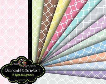 Diamond Pattern Digital Background Pastel Digital Paper Diamond Pattern Printable Background Pastel Color - Instant Download