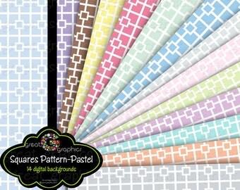 Printable Paper Square Pattern Digital Paper Pastel Printable Invitation Paper Baby Shower Paper - Instant Download