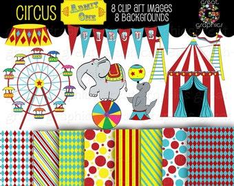 Circus Clipart Circus Clip Art  Digital Circus Paper Circus Digital Paper Circus Party Instant Download