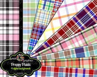 Printable Preppy Plaid Paper Preppy Digital Paper Printable Plaid Pattern Digital Party Paper for Invitations - Instant Download
