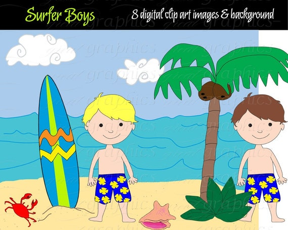 Surfer Boy Digital Clip Art Surfboard Clipart Surf Board Party Beach Paper Instant Download
