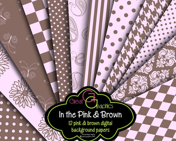 Pink and Brown Digital Paper Printable Background Paper Invitation Party Paper Houndstooth Polka Dot Paisley - Instant Download