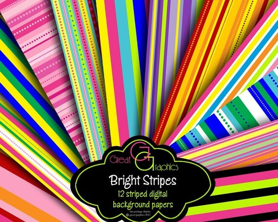 Stripe Paper Digital Paper Stripes Striped Paper Digital Printable Party Paper Invitation Paper - Instant Download