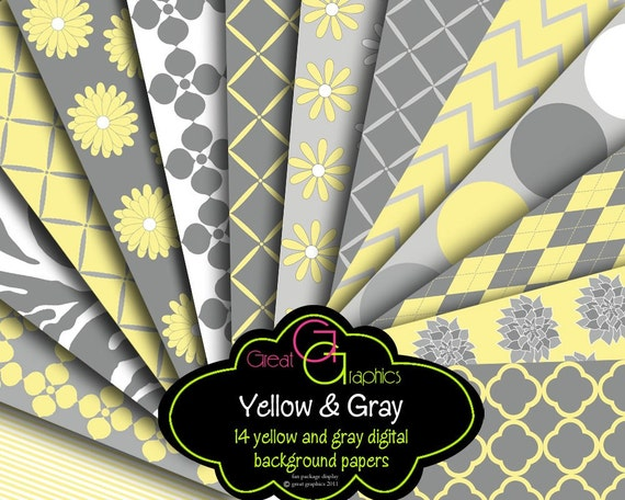 Yellow and Gray Digital Paper Gray and Yellow Party Paper Invitation Paper Printable Digital Background - Instant Download