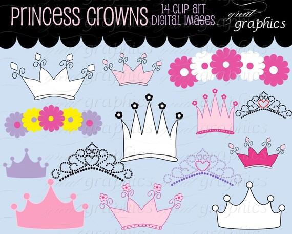 Princess Crown Clipart Princess Party Digital Clip Art Printable Princess Crown Digital Invitation Clip Art - Instant Download