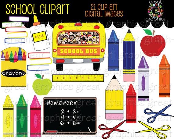 School Clipart Printable School Clip Art School Bus Crayon Clipart Chalkboard Teacher Clip Art Digital Clip Art Instant Download