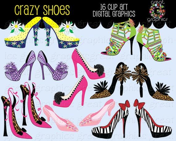 Shoe Clipart Shoe Clipart Crazy Shoes Digital Clip Art Shoe Digital Clipart Animal Print Shoes Instant Download