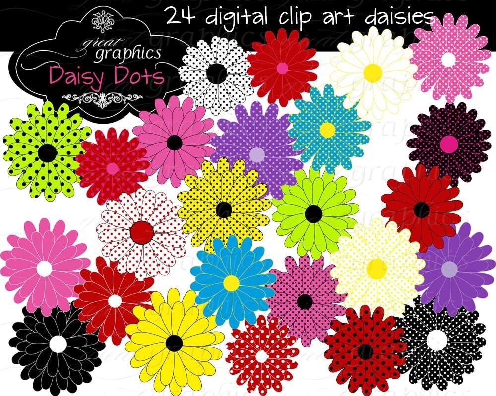 Flower Digital Clip Art Flower Clipart Printable Daisy Clipart: flower clipart