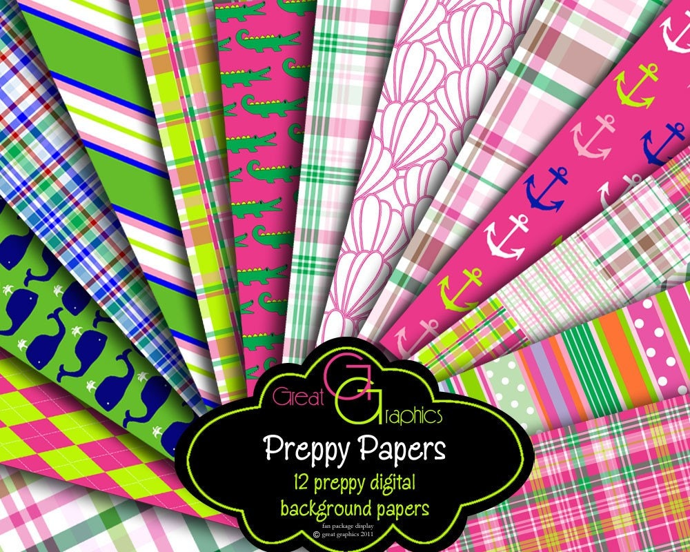 preppy paper digital paper preppy whale madras plaid preppy