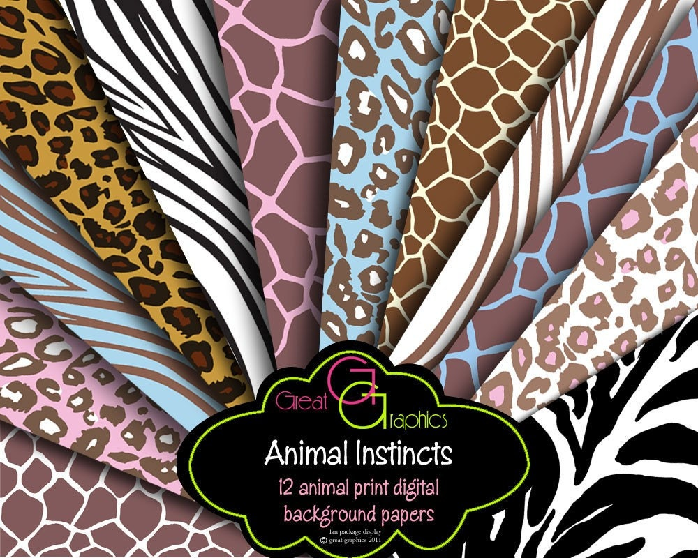 Animal Print Paper Animal Print Digital Paper Zebra Print