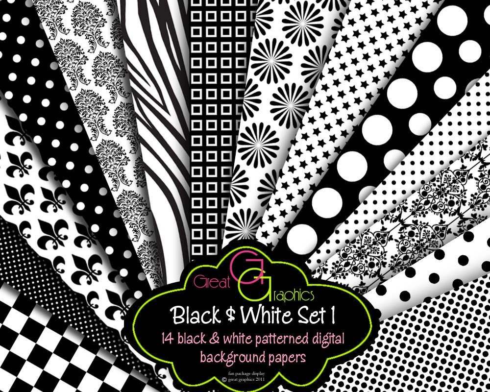 Black and White Paper Digital Paper Printable Black and White