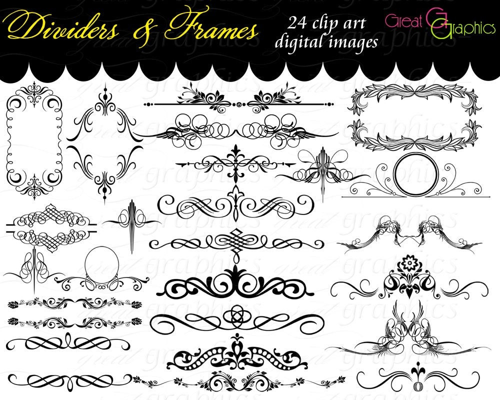 Clipart For Wedding Invitations Free: Frame Clip Art Digital Frame Clipart Flourish Clip Art Digital
