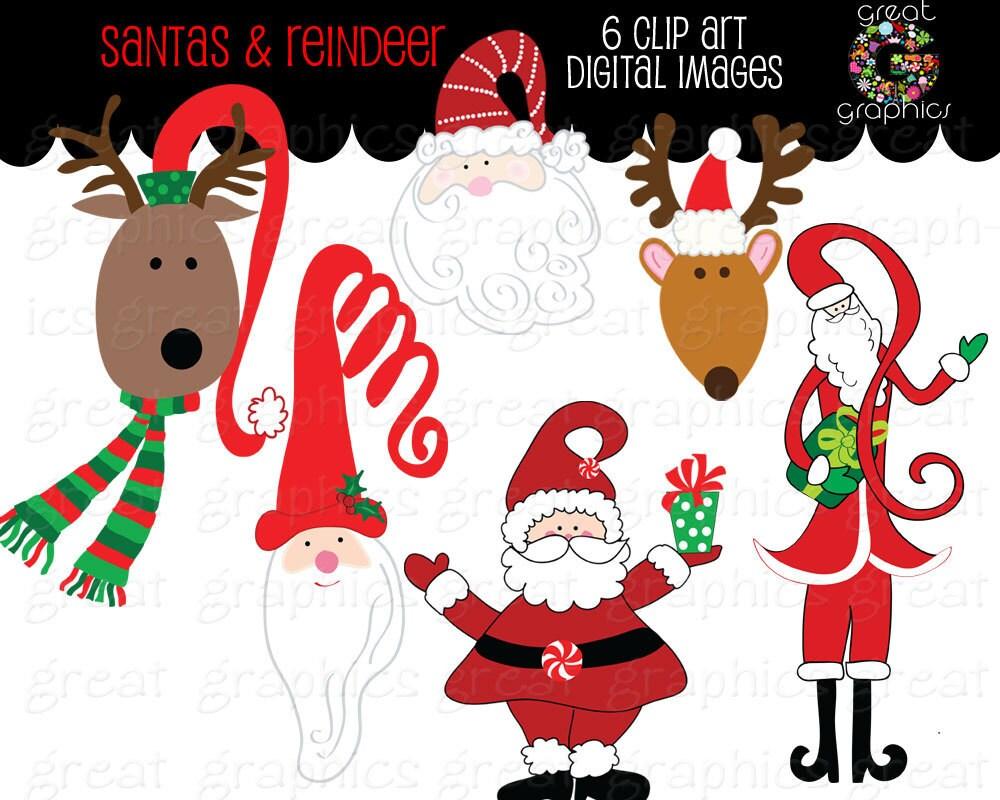 Santa Clipart Printable Santa Reindeer Clip Art Christmas Clip