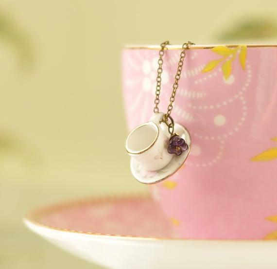 Helena Porcelain Tea-cup Pendant Necklace (Pink)