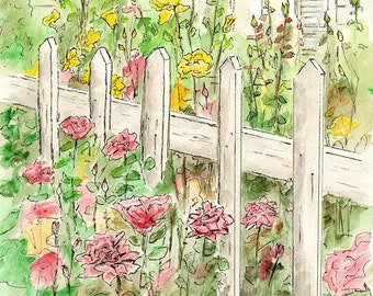 Cottage Garden, watercolor print, watercolor art, garden landscape, flower garden art, rose garden art, landscape painting, summer painting.