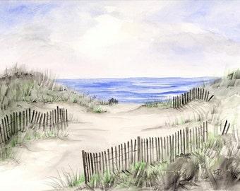 Beach Dunes, watercolor print, beach art, beach painting, beach watercolor, watercolor art, watercolor print.