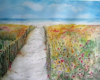 Beach Walk with wildflowers, watercolor print, beach painting, watercolor art, watercolor print, beach art