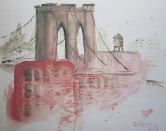 Brooklyn Bridge, watercolor print, watercolor art, city watercolor, nyc, bridge, brooklyn, landscape painting, cityscape, urban scene.