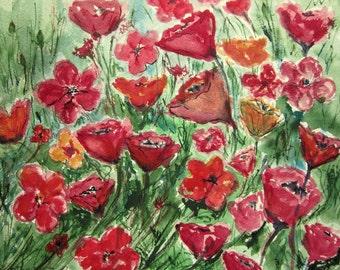 Flower Field Print of Original Watercolor Painting, watercolor art, watercolor print,garden painting, summer landscape archival print.