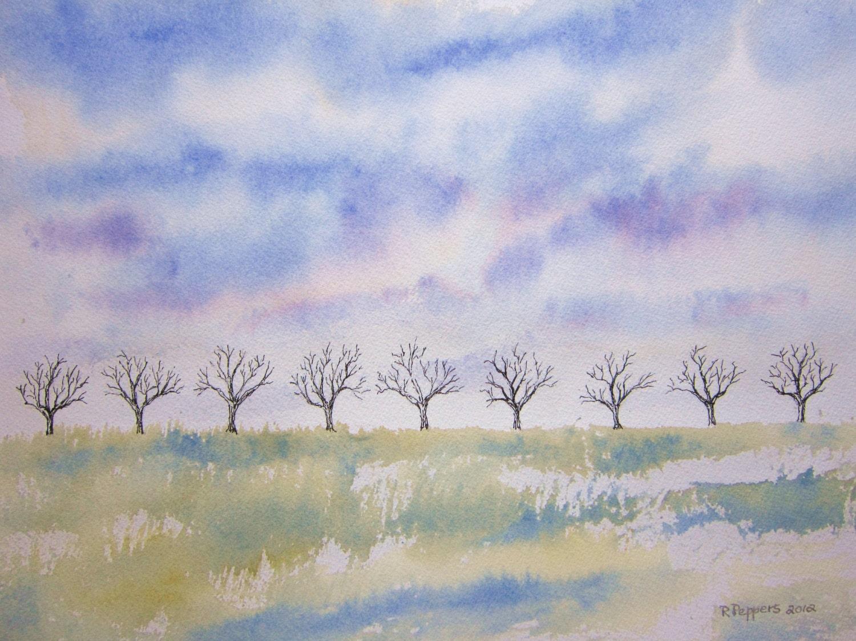 Tree Line 11x15 Original Watercolor Paintingwatercolor