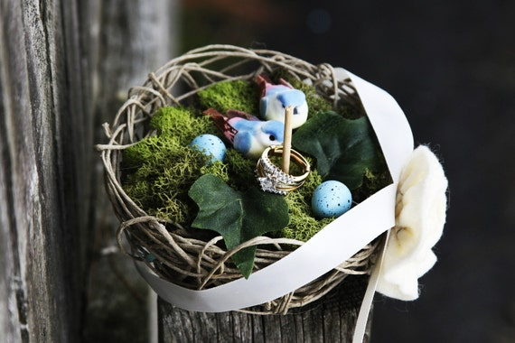 Handmade bird nest ring bearer pillow two lovebird and blue eggs.