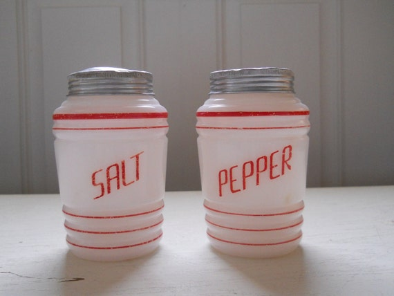 Vintage Red and White Salt and Pepper Shakers 1930's TREASURY ITEM