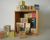 ABC wood blocks in dovetail box