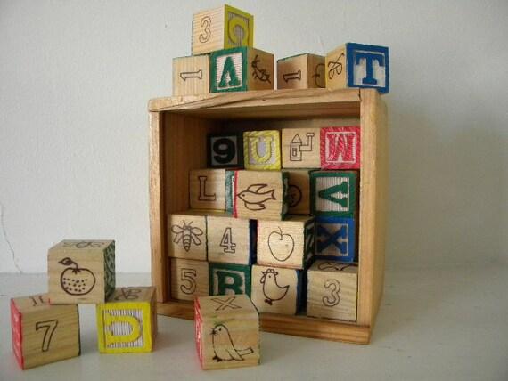 ABC wood blocks in dovetail box