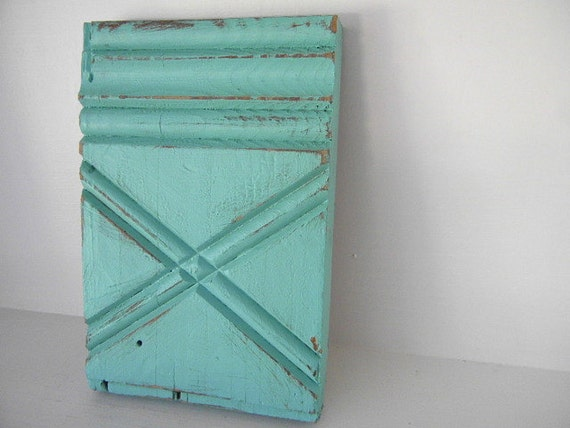 Architectural Salvage....carved wood block in Tiffany Blue