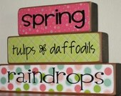 Spring Blocks - Wood Home Decor Blocks