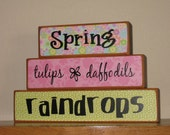 Reserved listing for Lesa - Spring, tulips, daffodils, raindrops wood blocks - wood home decor blocks