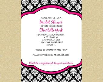 Damask Bridal or Baby Shower Invitation