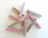 Clothespins - Pink and Gray, Set of 6