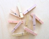 Clothespins - Gold and Pink, Set of 6