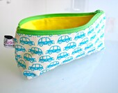 Zippered Pencil Case / Pouch - Cars (Light Blue)