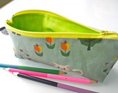 Zippered Pencil Case / Pouch - Kittens in Green