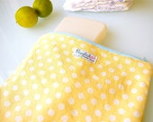 Zippered Pouch / Nappy or Diaper Case - Yellow Dots