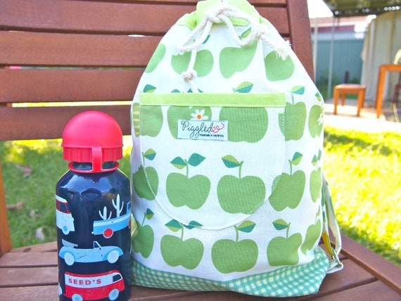 Toddler Backpack with Adjustable Straps - Green Apples
