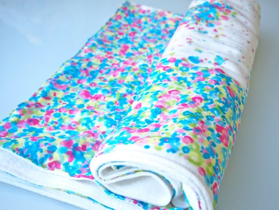 Large, Warm, and Super-Soft Baby Blanket - Organic Cotton Fleece and Double Gauze - Flower Garden