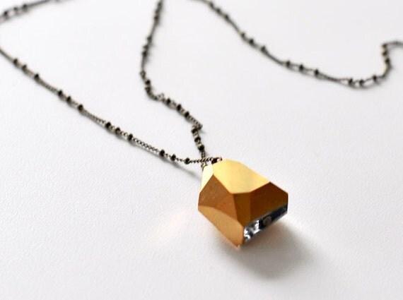 SALE Vintage Gold Crystal Nugget Necklace