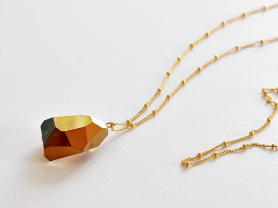 Golden Crystal Nugget Necklace