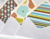 "Lined Envelopes, 5.75"" Square, 100% Recycled Content, Set of 12, Blooms and Stripes"