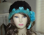 Black and Turquoise With Varigated  Fun Fur,and Ribbon, Horseshoe Flapper Hat