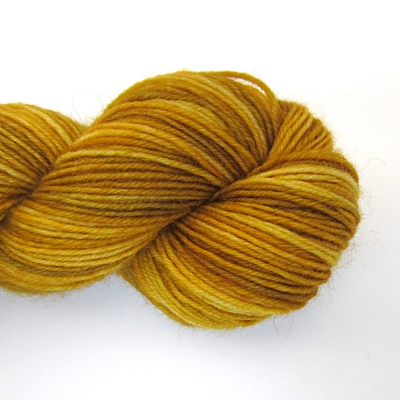 "Hand Dyed Sock Yarn - Mustard Yellow Tonal - ""Goldenrod"""