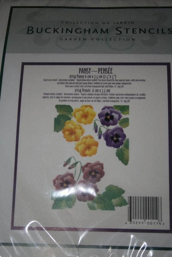 Buckingham Stencils pansy clematis blossoms set of 3