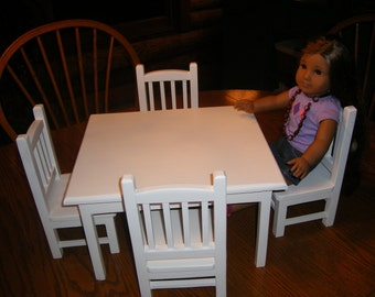 Table with 4 Chairs Set for 18 inch Doll