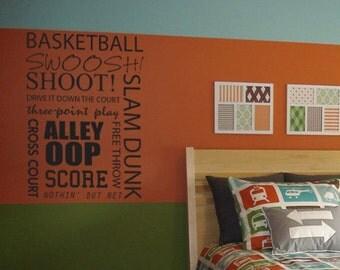 Basketball subway art words vinyl  wall decal