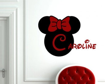 Minnie Mouse personalized monogram vinyl wall decal