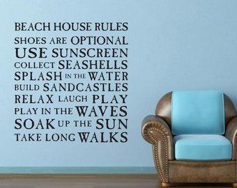 Beach house rules Lake house vinyl wall decal art