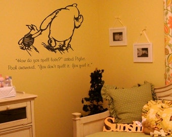 Classic Winnie the Pooh and Piglet How do you spell love quote vinyl wall decal